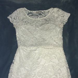 ALL WHITE FLORAL LACE DRESS